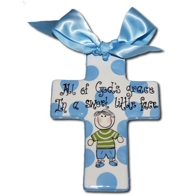 "Personalized 7"" Blue Cross for Boy"