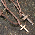 Crimson Truth Cross Pendant on Leather
