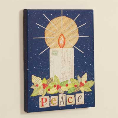 Peace Candle Wrapped Canvas Print