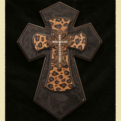 "Leopard 14"" Wall Cross"
