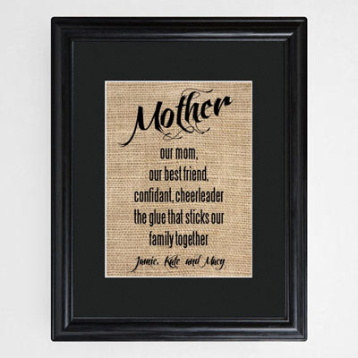 Framed Personalized Mother Print