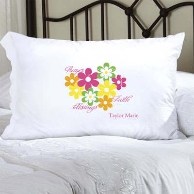 Personalized Pillow Case with Flowers and Faith