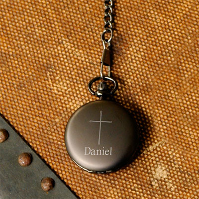 Personalized Inspirational Pocket Watch with Cross