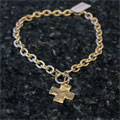 Handcast Gold Chain Cross Lariat Necklace