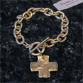 Handcast Gold Chain Cross Bracelet
