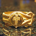 Handcast Gold Cross Hinged Cuff Bracelet