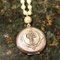 Silver Cross on Locket with Pearls