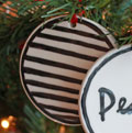 Handmade - Black & White Flat Ornament - Peace Mini-Thumbnail