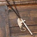 Long Cross Heart Charm Necklace - Blessed