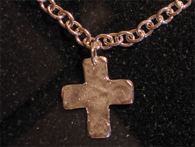 Handcast Silver Chain Cross Necklace