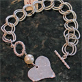 Handcast Silver Heart with White Pearl Bracelet