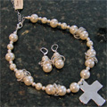Handcast Silver Cross White Pearl Necklace & Earring