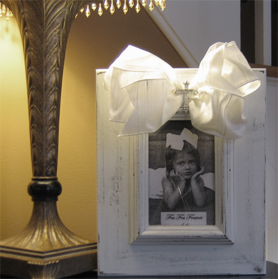 White Fru Fru Frame with White Bow and Rhinestone Cross