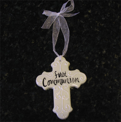 First Communion White Ceramic Cross
