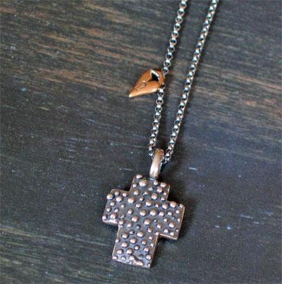 Sterling Silver Dew Drop Chunky Cross Necklace with Bronze Heart Charm