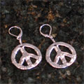 Handcast Silver Peace Sign Earrings