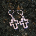 Handcast Silver Open Cross Earrings