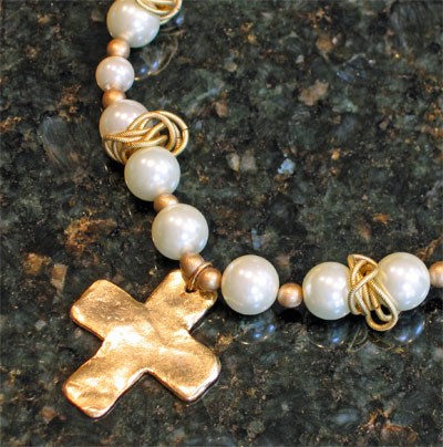 Handcast Gold Cross White Pearl Necklace