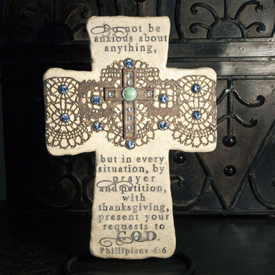 "10"" Philippians 4:6 Decorative Wall Cross"