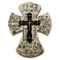 "14"" Layered Wall Cross - Burlap with Words"