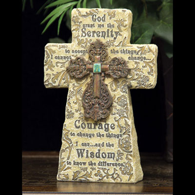 "8"" Serenity Prayer Standing Cross"