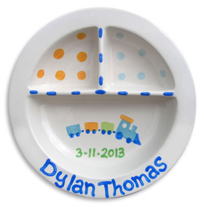 Personalized Train Baby Birth Plate