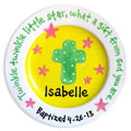 Personalized Child Plate - Cross - Yellow/Pink Stars