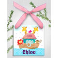 Personalized Christmas Ornament - Noah's Ark - Pink