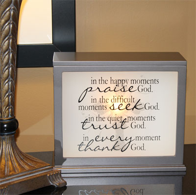 Inspirational Accent Lamp & Light Box (CHOCOLATE) - Insert Sold Separately