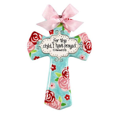 "'For this child I have prayed' Pink and Aqua Floral 8"" Cross"