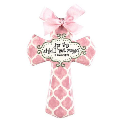 "'For this child I have prayed' Pink Quatrefoil 8"" Cross"