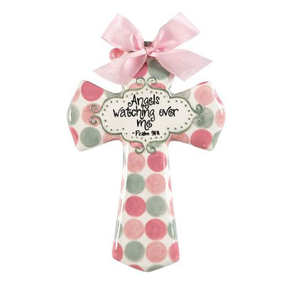 "'Angels watching over me' Pink and Grey Polka Dot 8"" Cross"