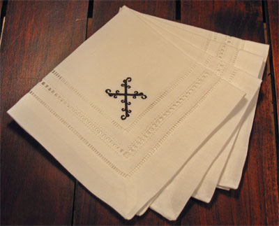 Black Wrought Iron Cross Tea Napkins - Set of Four