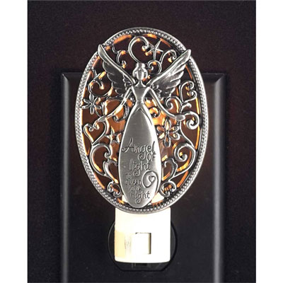 Angel of Light to Guard Your Night Pewter Night Light