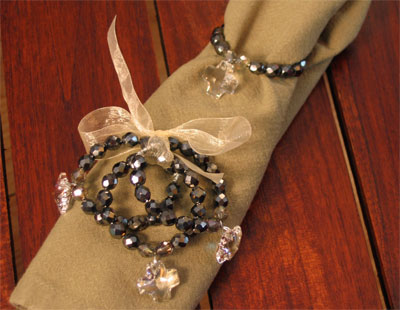 Crystal with Crystal Cross Napkin Rings