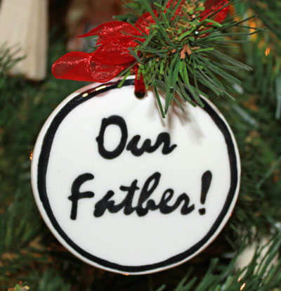 Handmade - Black & White Flat Ornament - Our Father