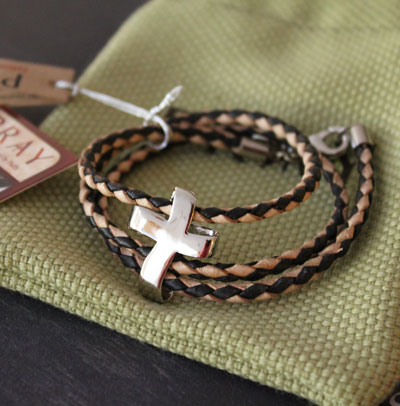 Men's Silver Eternity Cross Adjustable Bracelet