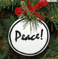 Handmade - Black & White Flat Ornament - Peace
