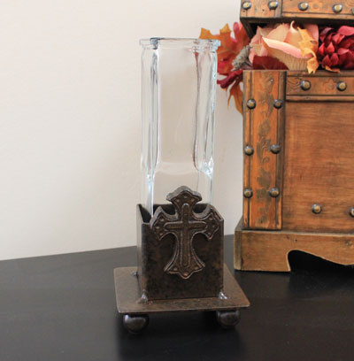 Wrought Iron Small Bud Vase with Cross