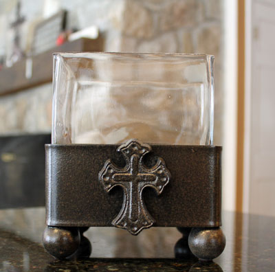 Wrought Iron Ladnar Square Vase with Cross