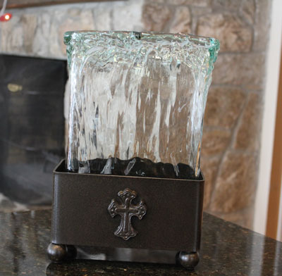 Wrought Iron Ladnar Pulled Glass Tall Vase