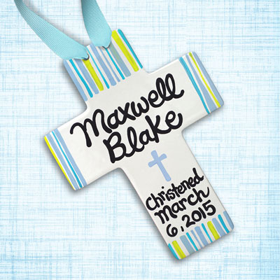 Personalized Yellow/Blue Striped Baby Baptism Cross - 10""