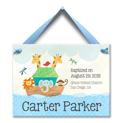 Personalized Noah Ark Birth Tile for Boy