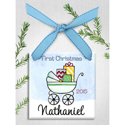 Personalized Baby Buggy Ornament for Boy