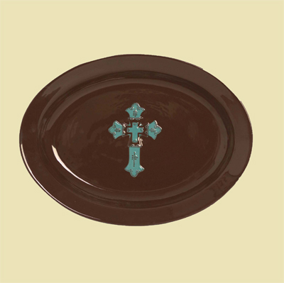 Turquoise Cross Ceramic Serving Platter