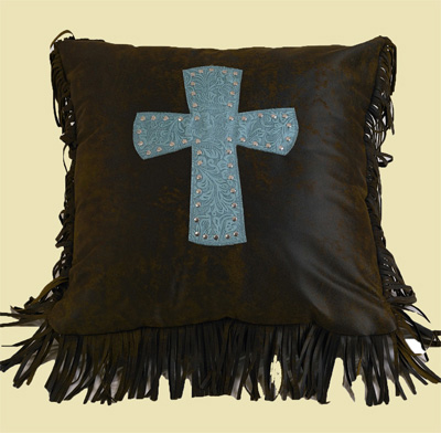 Cheyenne Cross Pillow - Turquoise