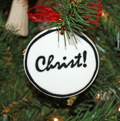 Handmade - Black & White Flat Ornament - Christ