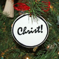 Handmade - Black & White Flat Ornament - Christ Mini-Thumbnail