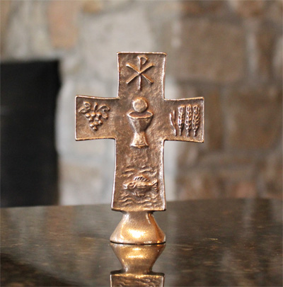 First Communion Bronze Cross - Standing