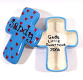 Personalized Ceramic Cross Box - Turquoise with Red Hearts